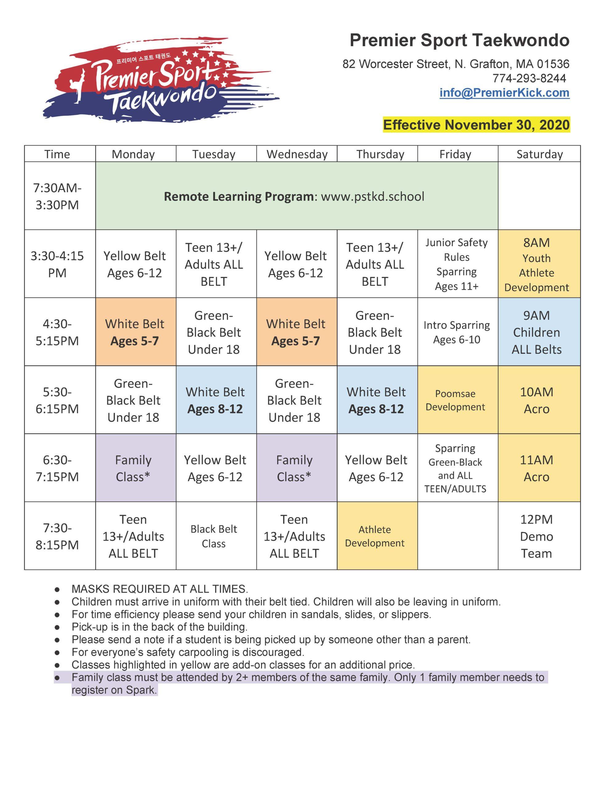 Premier Sport Taekwondo Schedule